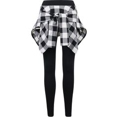 ililily Women Inset Tied Over Plaid Checkered Shirt Around Waist Skirt... ($32) ❤ liked on Polyvore featuring pants, leggings, tartan plaid leggings, plaid leggings, checked pants, tie-dye leggings and tartan pants