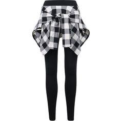 ililily Women Inset Tied Over Plaid Checkered Shirt Around Waist Skirt... ($32) ❤ liked on Polyvore featuring pants, leggings, tartan leggings, plaid leggings, tartan plaid leggings, tie-dye leggings and checkered leggings