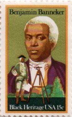 US postage stamp, 15 cent.  Benjamin Banneker, Black Heritage.  Issued 1980.  Scott Catalog 1804.