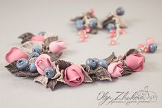 Jewelry set with roses and blueberries from polyme by polyflowers.deviantart.com on @deviantART