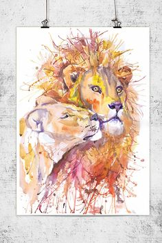 Lion and lioness watercolor painting wall decor african animal animal art art print zodiacal wildlife signs of the zodiac lion art USD) by ValrArt Watercolor Lion, Watercolor Animals, Watercolor Paintings, Watercolors, African Animals, African Art, Couple Lion, Lion Wall Art, Lion Painting