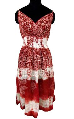 Red Cotton Beach Dress Floral Boho by styleandyou, $25.99