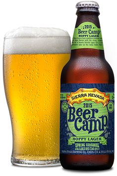 "2015 Beer Camp Hoppy Lager ""A hop-heavy twist on the classic blonde lager."" Sierra Nevada Brewing Co., Chico CA January 2015 More Beer, All Beer, Wine And Beer, Sierra Nevada, Beer Brewing, Home Brewing, Whole Foods Market, Whisky, Cider Cocktails"