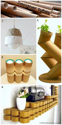 These are some great ideas on reusing cardboard tubes. ReFab Diaries: Upcycle: Classy cardboard tubes