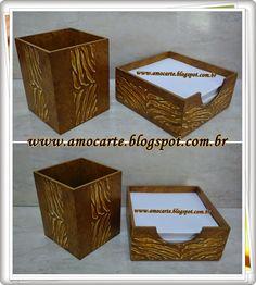 Peça organizadora - kit escritório com detalhe em relevo - mdf madeira http://www.amocarte.blogspot.com.br/