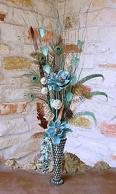 New Large Peacock Feather Floral Arrangement with Blue Flowers in Fluted Vase