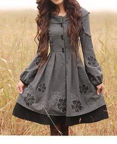 Amazingly Cute Grey Dress     Lange Mäntel - Long sleeve trench coat vintage style mantelkleid