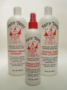 Fairy Tales Rosemary Repel shampoo, conditioner and repel spray proven to prevent and repe lice. Free of chemicals, toxins, paraben and sulfate.  All natural and organic.  Formulated without nut oil, diary, or gluten.  Purchase for $49.95.  Visit Mikes Beauty Outlet, maintained by beautydealer on ebay to find out more about this product. Citronella, Kids Health, Nut Free, Shampoo And Conditioner, Food Allergies, Fairy Tales, Hair Care, Healthy Living, Pure Products