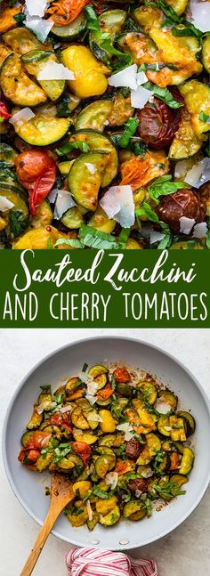 Sauteed Zucchini and cherry tomatoes with basil and Parmesan is a simple side dish using all the fresh flavors from the late summer garden. This vegetarian dish is quick and easy, made in one skillet, and perfect for serving on the side with grilled meat, pasta, or even crusty bread! #zucchini #zucchinirecipes #cherrytomato #summerrecipes Summer recipes | side dish | vegetarian recipes