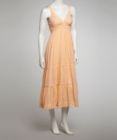 $18.   Take a look at this Peach Embroidered Maxi Dress by SR Fashions on #zulily today!