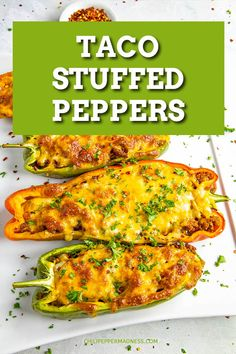 Taco Stuffed Peppers These sweet bell peppers are stuffed with taco meat (use ground turkey, ground beef or shredded chicken!) then topped with cheese and baked. A favorite for the whole family. Very easy to make! Use your favorite toppings! Stuffed Bell Peppers Chicken, Sweet Bell Peppers, Stuffed Sweet Peppers, Stuffed Jalapeno Peppers, Spicy Chicken Recipes, Turkey Recipes, Meat Recipes, Pepper Recipes, Hamburger Recipes
