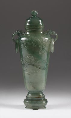 Chinese Carved Green Jadeite Vase, Cover, and Stand, 20th Century