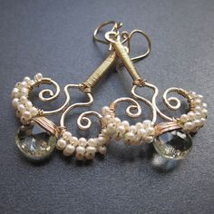 Hammered swirl earrings tiny ivory pearls green amethyst Nouveau 80