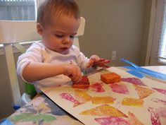 Sponge painting is a perfect first art activity for babies and toddlers.