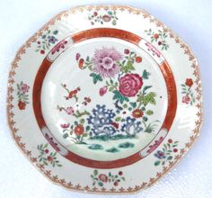 Octagonal Chinese 18th Century Famille Rose Plate