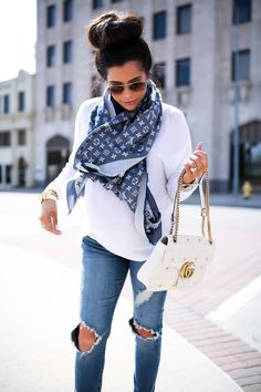MARCH 13, 2017 Easy Way To Style Boyfriend Jeans (+ the best for under $60) - SWEATER: Press via Nordstorm | BOYFRIEND JEANS: STS Blue | HEELS: Steve Madden | SCARF: Louis Vuitton | SUNGLASSES: Ray-Ban | WATCH: Michele | BRACELETS: David Yurman, Styled Collection | LIPS: Koko K Lip Kit | HANDBAG: Gucci