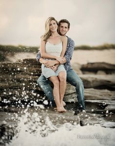 Great Beach Engagement Pic with Rocks + Waves | © Favorite Photography