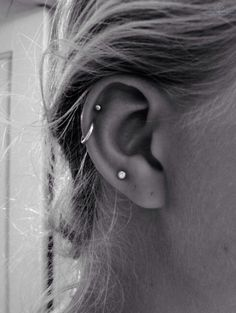 stud and hoop helix piercing