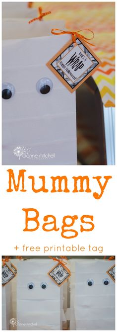 Easy Mummy Halloween Party Favor Bags + free printable tag