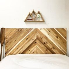 Natural Rustic Chevron Headboard - The Long Canyon - Modern Rustic - Organic - Handmade In Chicago USA