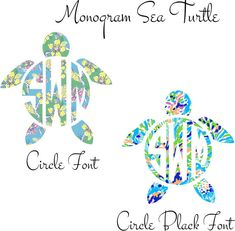 Lilly Pulitzer Monogram Turtle Iron On Decal by SouthernIdeology