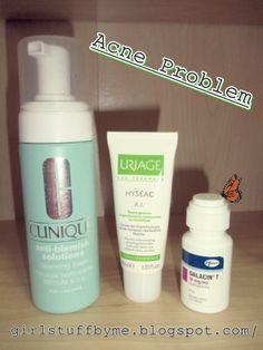 Três dos quatro produtos para a resolução do meu problema de acne.