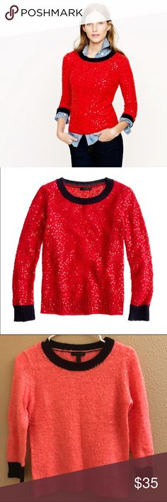 J.Crew Scalloped Sequin Sweater Our designers worked hand in hand with one of our favorite Italian mills to develop this special blend of wool and mohair yarns (we love it for its light and lofty feel and amazing ability to soak up color). In a slightly shrunken silhouette with colorblocked trim, it's scattered with sequins that were specially chosen to match the color of the yarn precisely.  Polyacrylic/wool/mohair in a 7-gauge knit. Long sleeves.  Rib trim at neck, cuffs/hem Dry clean…