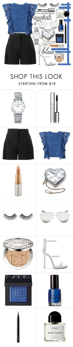 """eyelet top"" by diana-dabs ❤ liked on Polyvore featuring Longines, By Terry, Alberta Ferretti, Sea, New York, Mariah Carey, Louis Vuitton, Huda Beauty, Victoria Beckham, Christian Dior and Giuseppe Zanotti"