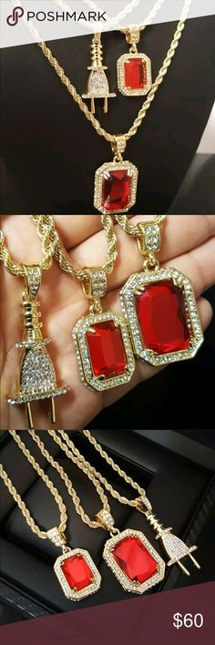Three set of chain and charm 2 set of Ruby chain and charm and one Plug Pendant Accessories Jewelry