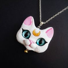 Custom order *** Artemis - Sailor Moon Inspired Necklace OOAK Polymer clay Cat Pendant by FleurDeLapin on Etsy