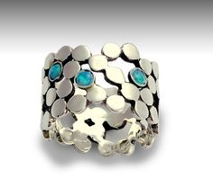 Sterling silver ring, dotted ring, blue opal ring, gemstones ring, wide silver band, wide silver ring, ring with stones - Yet to discover
