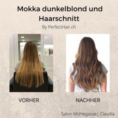 Toller vorher-nachher Effekt von Claudia aus dem Salon Mühlegasse! Long Hair Styles, Beauty, Drawing Rooms, Mocha, Amazing, Long Hair Hairdos, Long Haircuts, Long Hair Cuts, Long Hairstyles
