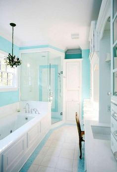 Interior:Exciting And Refreshing Turquoise Bathroom Decor With Accessories With Hanging Lamp And More Storage Exciting and Refreshing Turquoise Bathroom Decor with Accessories