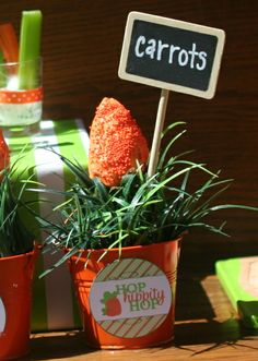 Carrot treats at an Easter Party! See more party ideas at CatchMyParty.com!