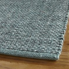 Jasper Teal Wool-Blend Rug | Crate and Barrel