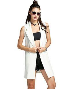 a008291e338b Jingjing1 Women Casual Sleeveless Solid Vest Trench Coat With Pockets Long  suit coat Waistcoat Cardigan Blazer