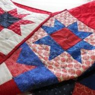Crochet Baby Blanket Red White and Blue Baby by GabbysQuilts