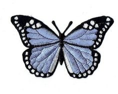 "Iron-On Embroidered Applique : - Lilac and Black Butterfly - Measures 2"" x 3"" or 5.08cm x 7.62cm"