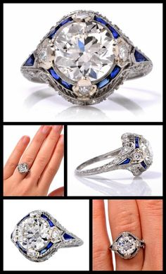 1920's 4.40cts Diamond Sapphire Platinum Ring. Finely crafted in solid platinum, this ring is centered with 1 genuine European cut diamond approx.2.87 ct, H-I color, VS1 clarity. The brilliance and sparkling life of the center diamond is complimented by 25 genuine round cut diamonds approx. 0.78 ct, G-H color, VS clarity and 10 French cut sapphires approx. 0.75ct. Via 1stdibs.