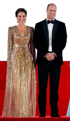 Kate Middleton's red carpet gown has royal fans saying the same thing   HELLO! Jenny Packham Dresses, Gold Gown, Prince William And Catherine, Red Carpet Gowns, Embellished Gown, Kate Middleton Style, Dressed To The Nines, Duchess Of Cornwall, Daniel Craig