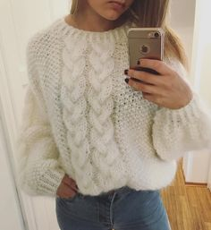 White women sweater White cable knit mohair sweater mohair sweater with two knit cable Arm knit warm mohair wool sweater Cable knit sweater - Cardigan Stricken Hand Knitted Sweaters, White Sweaters, Wool Sweaters, Sweaters For Women, Knit Sweater Outfit, Mohair Sweater, Handgestrickte Pullover, Knitted Doll Patterns, Stitch Fit
