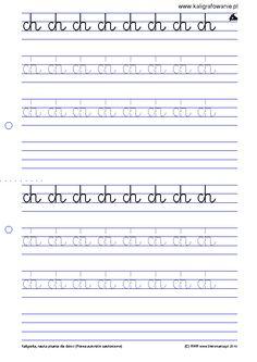 Dwuznaki, zbitki, i trudniejsze złączenia (W9) | Kaligrafia, nauka pisania dla dzieci, szablony do nauki pisania liter do wydruku, szlaczki,...