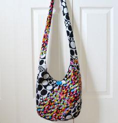 Hobo Bag Sling Bag Patchwork Geometric Rainbow Black by 2LeftHandz, $37.00