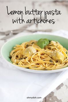 Buttery lemon artichoke sauce and spaghetti. Wonderful summer dish which is ready in 25 minutes, recipe for 4 people.