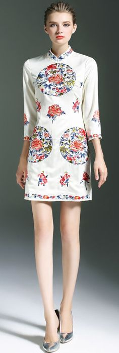 White Floral Embroidered Sheath Dress