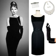 Channel the gorgeous Audrey in Breakfast at Tiffanys in the Trashy Diva Audrey Pencil Dress, pearls and gloves! #trashydivaaudreypencildress