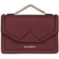 Karl Lagerfeld Women K Klassic Saffiano Leather Shoulder Bag ($435) ❤ liked on Polyvore featuring bags, handbags, shoulder bags, burgundy, karl lagerfeld, pocket purse, red handbags, shoulder hand bags and shoulder bag handbag