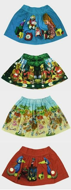 Dominique Ver Eecke nana: the shape of the full skirt is awesome and it look like alice in wonderland fabric which would be awesome but wide skirt are great easy to dress up or down