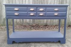 blue sofa table made from an old dresser
