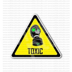 Caution Need Toxic Biohazard Mask Sign Sticker